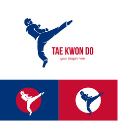 taekwondo logo template martial arts badge vector image