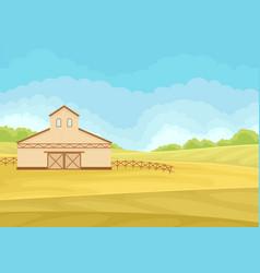 Tall beige barn in field vector