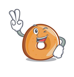 Two finger bagels character cartoon style vector