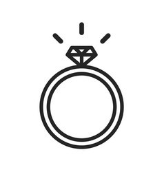 wedding ring with diamond icon vector image