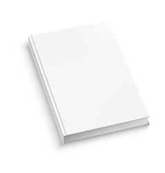 white closed book on white table vector image