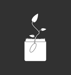 White icon on black background flower buds vector