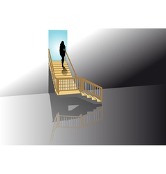 woman on the stairs vector image