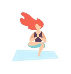 young woman practicing yoga asana physical vector image