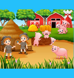zookeeper girl and boy with pigs in the farmyard vector image