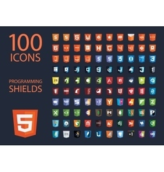 collection of web development shield signs vector image vector image