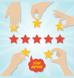 hands giving five stars rating vector image