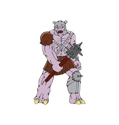 Orc Warrior Holding Club Front Cartoon vector image