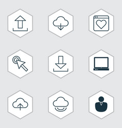 set of 9 web icons includes account virtual vector image vector image