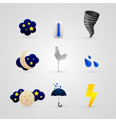 set of different color weather icons vector image