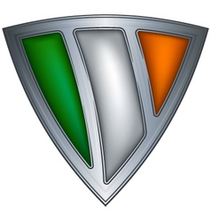 steel shield with flag ireland vector image vector image