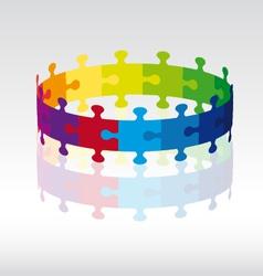 3D puzzle circle vector image
