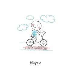 A man rides a bicycle vector image