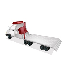 A Tractor Trailer Flatbed on White Background vector image