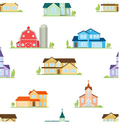 american houses churches and farm seamless vector image vector image