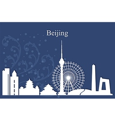 Beijing city skyline on blue background vector image vector image