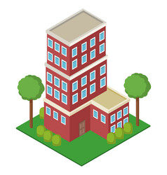 isolmetric school building vector image