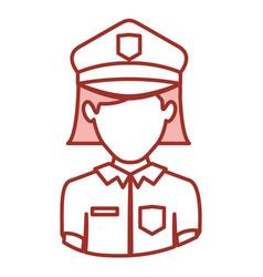 Red contour of half body of faceless policewoman vector