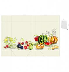 template for bag with fruit vector image vector image