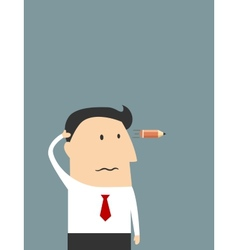 Tired cartoon businessman showing suicide gesture vector image