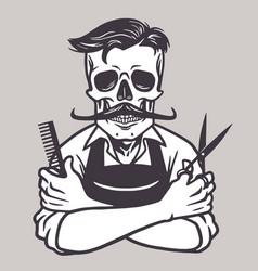 barberman skull vintage drawing vector image vector image