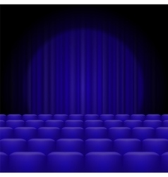 Blue Curtains with Spotlight and Seats vector image