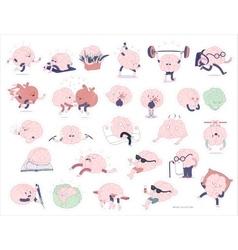 Brain stickers set vector image