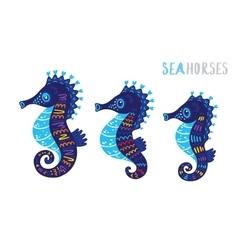 Cartoon family sea horse set vector image