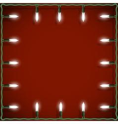 Christmas lights frame on red background vector image