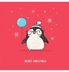 Cute penguin with balloon - Merry Xmas vector image vector image