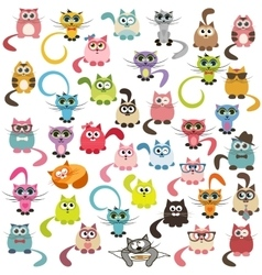 Set of cats and kittens vector