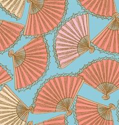 Sketch Spanish fan in vintage style vector image vector image