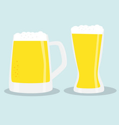 two glasses of beer color vector image vector image