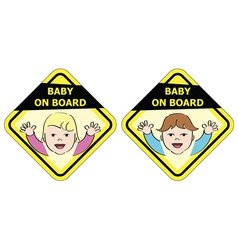 Baby on board - message sign vector image vector image