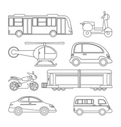 collection transport vehicle image outline vector image