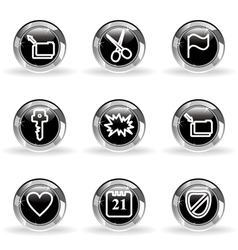 Glossy icon set 27 vector image vector image