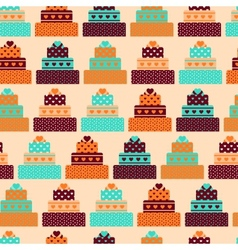 Seamless pattern with cakes in retro style vector image vector image