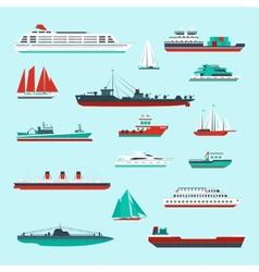 Ships and boats set vector image