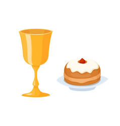 wine cup used for jewish kiddush shabbat drink vector image vector image