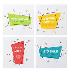 4 trendy flat sale pastel colors stickers vector image