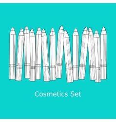 A set of cosmetic pencils vector image
