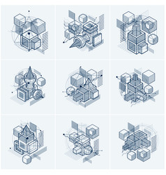 Abstract backgrounds with isometric lines and vector