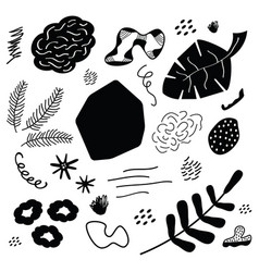 Abstract black silhouette leaves and stones icons vector