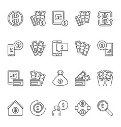 american dollar and money outline icons or vector image