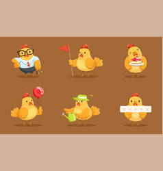 Animated baby chickens in different poses vector