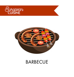 barbecue on grill from european cuisine isolated vector image