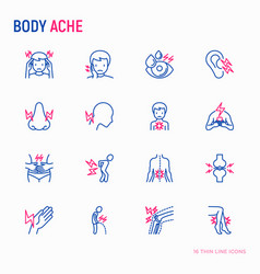 body aches thin line icons set vector image