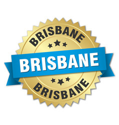 Brisbane round golden badge with blue ribbon vector