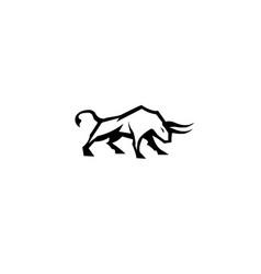 Bull buffalo attack with horns logo design vector