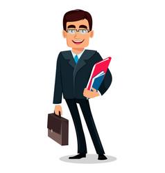 Business man cartoon character in formal suit vector